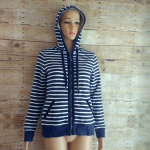 Boden Sherpa Lined Velvet Trim Striped Hoodie US 4